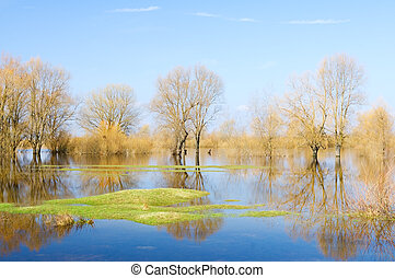 Spring high water on the small river in east Europe