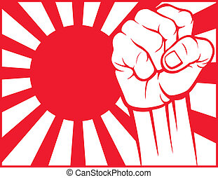 japan fist flag of japan