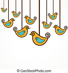 Funny yellow vector birds backgroud - Funny yellow vector...