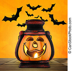 Pumpkin lantern with candle - pumpkin lantern with candle...