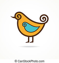 Pretty funny vector yellow bird on the white background...