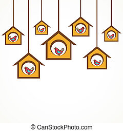 Collection of funny birds in feeder