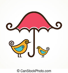Couple of cute birds under umbrella