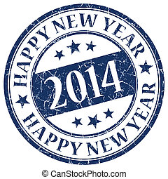 Happy New Year 2014 Blue Stamp