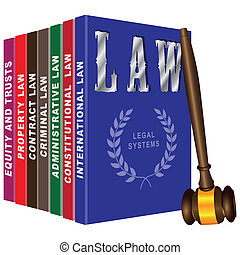 Set of books on law and judicial gavel. Vector illustration.