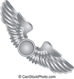 Symbolic wings in the emblem. Vector illustration.