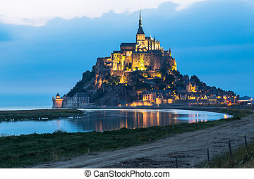 Le Mont Saint Michel, an UNESCO world heritage site in...