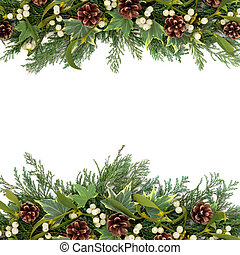 Christmas Greenery Border - Christmas floral background...