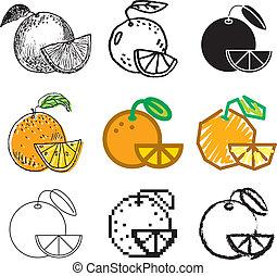 orange fruit icons set - orange fruit stylish icons set in...