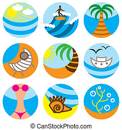 vacation on beach icons set - vacation on beach stylish...