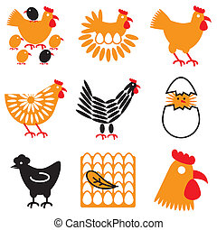 hen and chicken icons set - hen and chicken stylish icons...