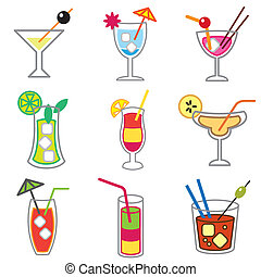 different cocktails icons set - different cocktails stylish...