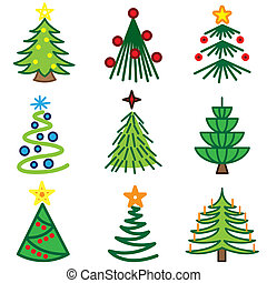 christmas tree icons set