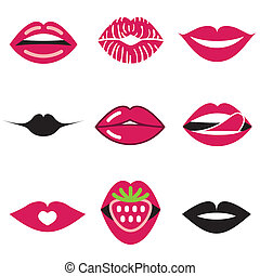 beautiful lips icons set - beautiful lips stylish icons set...