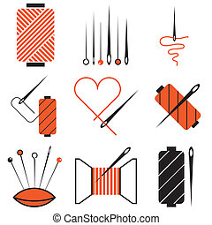 needle and tread icons set - needle and tread stylish icons...