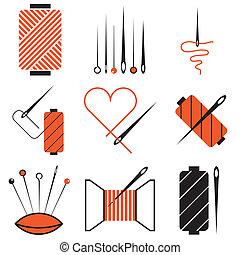 needle and tread icons set - needle and tread stylish icons...