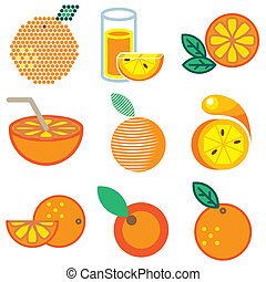 orange fruit icons set - orange fruit stylish icons set in...