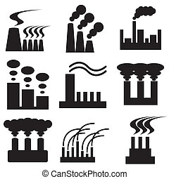 plant and factory icons set