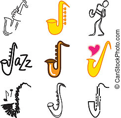 jazz saxophone icons set - jazz saxophone stylish icons set...