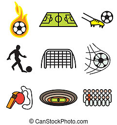 soccer hand drawn icons - soccer hand drawn stylish icons...