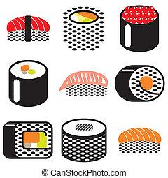 sushi rolls icons set - sushi rolls stylish icons set in...