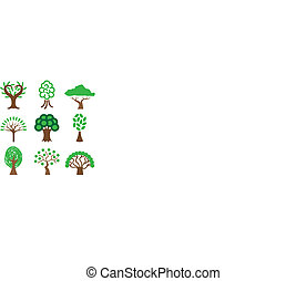 different trees icons set