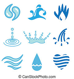 water hand drawn icons - water hand drawn stylish icons set...