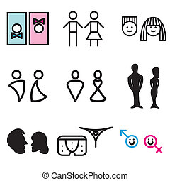 toilet symbols hand drawn icons