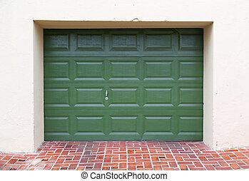 garage door - double green wooden garage door with paved...