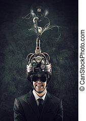 mind control - Cheerful businessman wearing a brain-control...