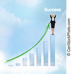 businesswoman with big 3d chart - business, success and...