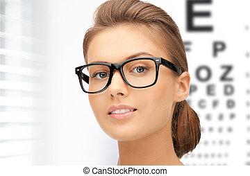 donna, occhiali, occhio, grafico