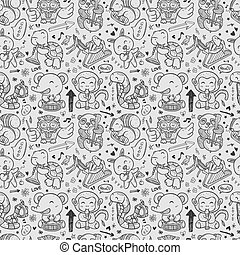 seamless doodle animal playing music pattern
