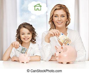 mãe, filha, poupar, Dinheiro