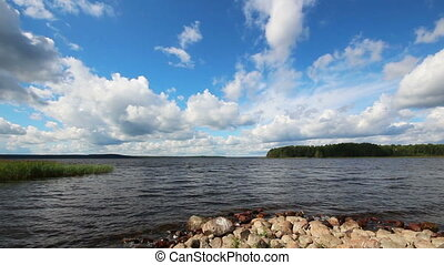 landscape with Vuoksa lake in Russia - timelapse