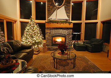 Christmas in the Northwest - Christmas eve scene in a living...