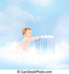 smiling baby with present on the cloud - childhood and...