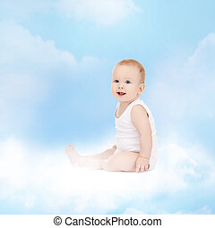smiling baby sitting on the cloud - childhood and child care...