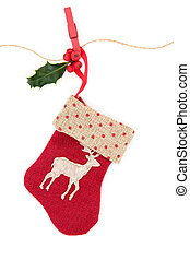 Christmas Stocking - Christmas reindeer stocking with holly...