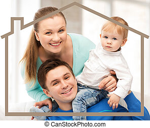 family with child and dream house - home, real estate and...