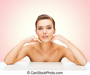 face of beautiful woman with lines - beauty and skin care...