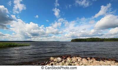 landscape with Vuoksa lake in Russia