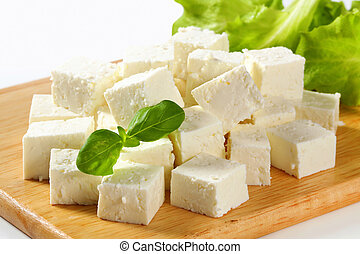 Feta Cheese - Cubes of feta cheese on a plate
