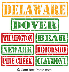 Delaware Cities stamps - Set of Delaware cities stamps on...