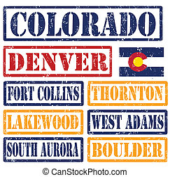Colorado Cities stamps - Set of Colorado cities stamps on...