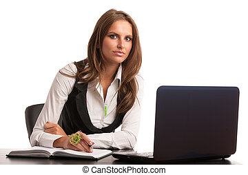 Preety business secretarry woman working in office isolated...