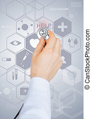 doctor with stethoscope and virtual screen - healthcare,...