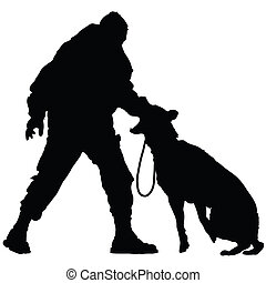 Police Dog 2 - Silhouette of a police officer training with...