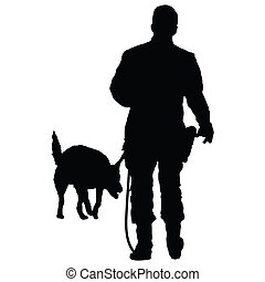 Police Dog 3 - Silhouette of a police officer training with...