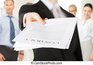 businessman with contract - business concept - businessman...